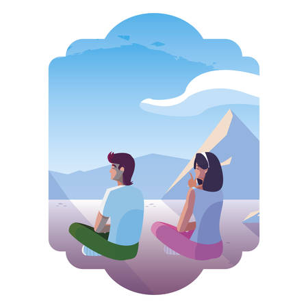 couple contemplating horizon in snows cape scene illustration design Çizim