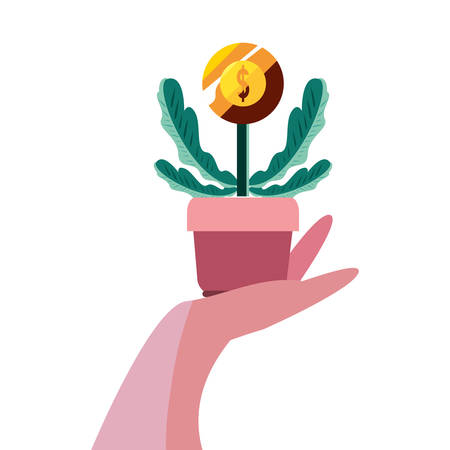 hand with plant coin growth illustration Çizim