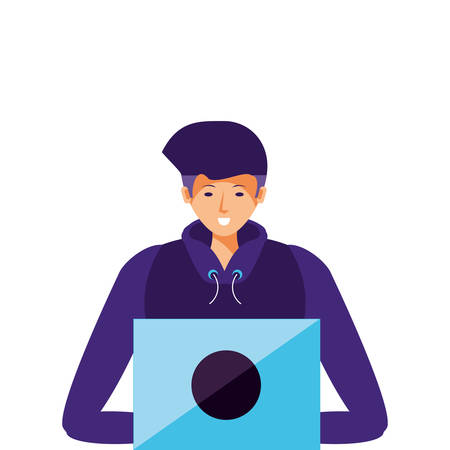 young man using laptop computer vector illustration design Illustration