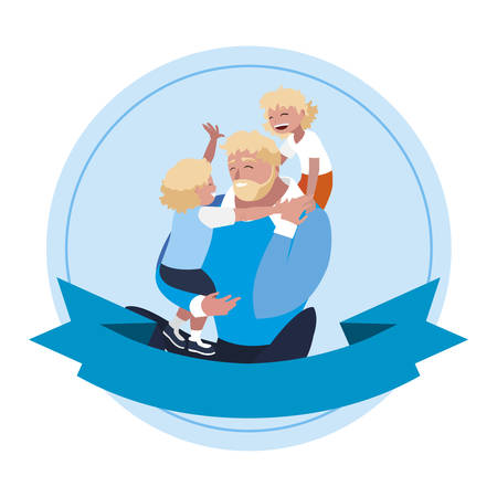 father with sons characters in frame illustration design