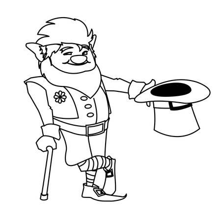 saint patrick lemprechaun with cane character illustration design