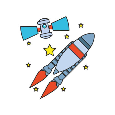 space satellite with rocket and stars illustration design Stock Illustratie