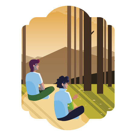 men couple contemplating horizon in the forest scene vector illustration design Çizim