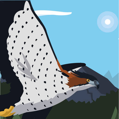 beautiful hawk flying majestic bird in the landscape illustration design Фото со стока - 132089350