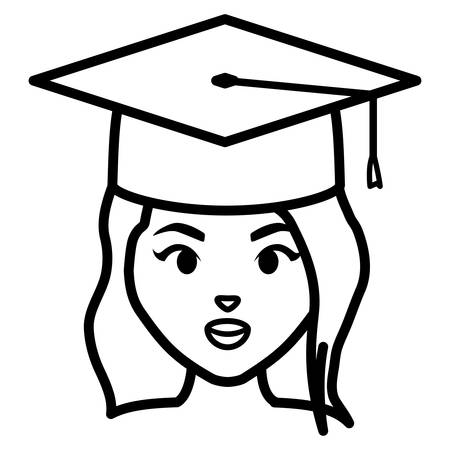 young student graduated girl head character illustration design 向量圖像