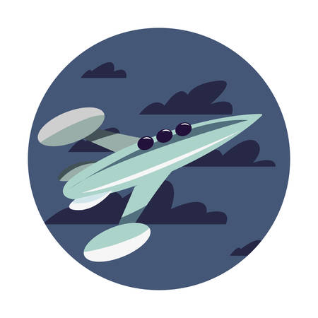 rocket spaceship flying in the sky vector illustration 向量圖像