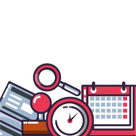 clock time with set icons vector illustration design Çizim