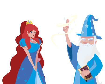 beautiful princess with wizard of tales characters vector illustration design Çizim