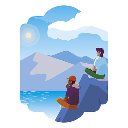 men couple contemplating horizon in lake and mountains scene vector illustration Çizim
