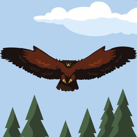 beautiful eagle flying in the landscape majestic bird vector illustration design Ilustracja