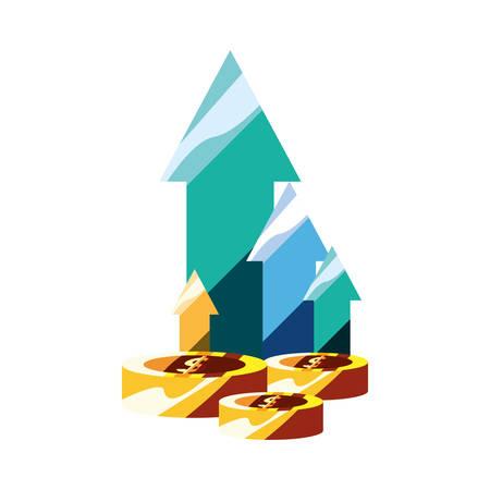 coins money finance up arrows vector illustration
