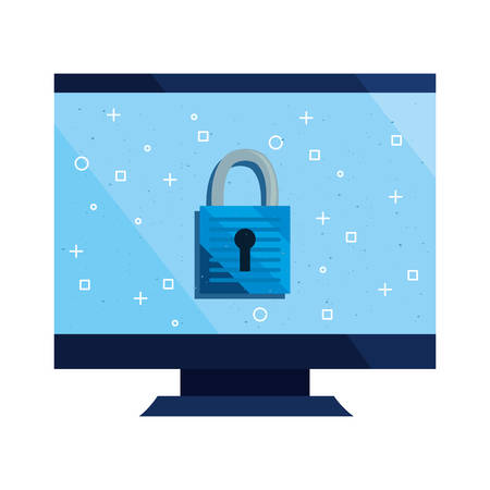 computer padlock cybersecurity data protection vector illustration Çizim