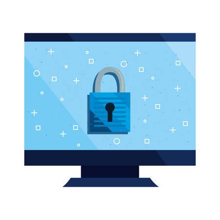 computer padlock cybersecurity data protection vector illustration Ilustracja