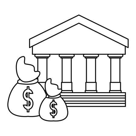 bank money bags business savings vector illustration