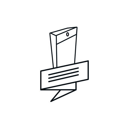 smartphone device with ribbon vector illustration design