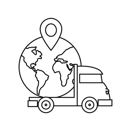 truck delivery fast shipping world navigation pin vector illustration