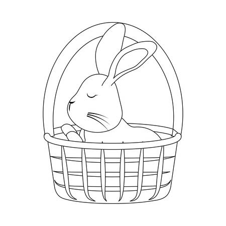 cute rabbit in basket wicker vector illustration design