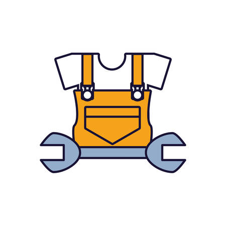 overall uniform construction with wrench vector illustration design 向量圖像