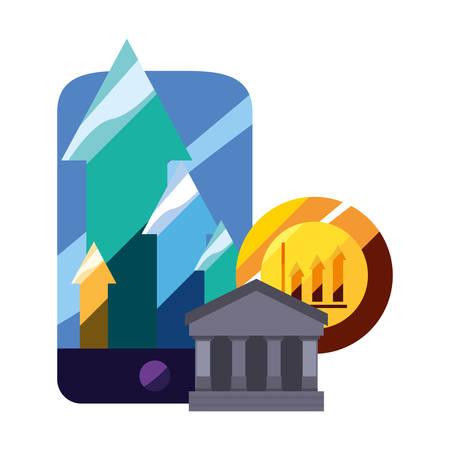money bank cellphone chart report app vector illustration