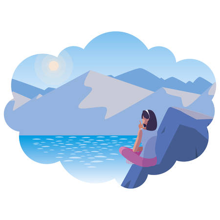 woman contemplating horizon in lake and mountains scene illustration Ilustracja