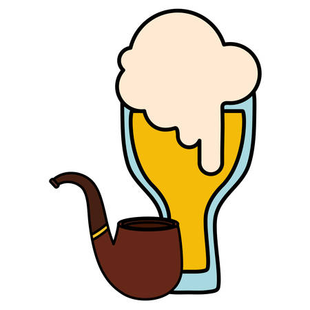 beer glass with pipe wooden illustration design Stock Illustratie