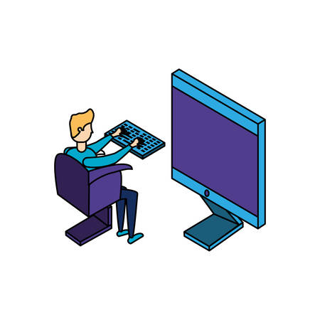 businessman worker with display computer illustration design