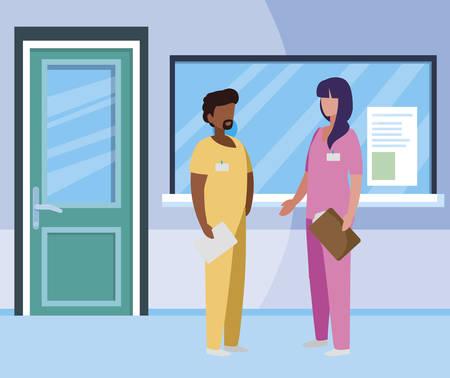 interracial couple medicine workers in reception hospital illustration design