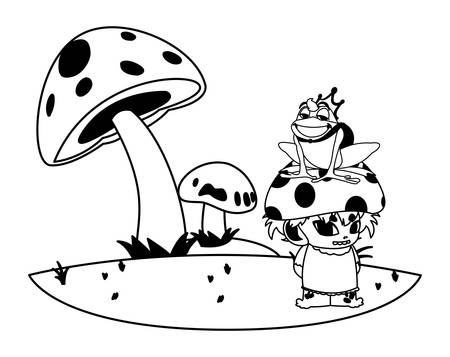 toad prince and fungu elf in garden illustration design