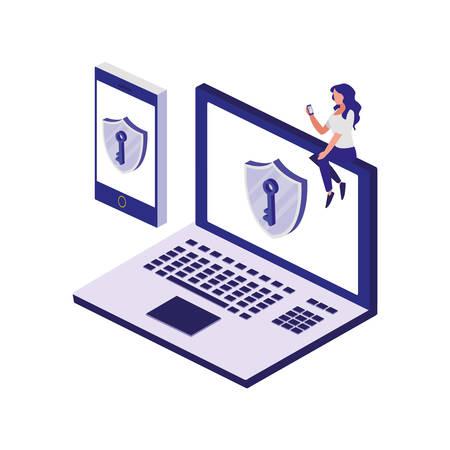 laptop computer with security shield illustration design Ilustração