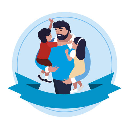 father with son and daughter characters in frame illustration design Illustration