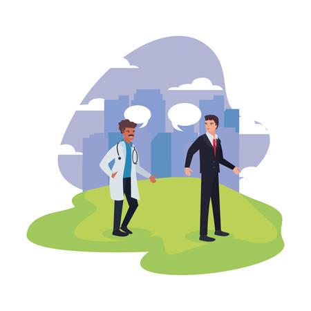 doctor and businessman labour day illustration Foto de archivo - 132104146