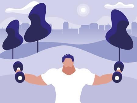 athletic man weight lifting in the park illustration design
