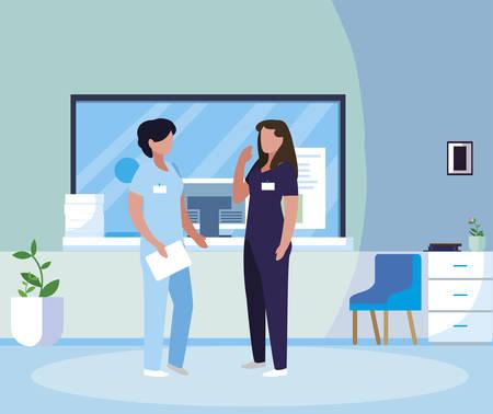 female medicine workers in hospital reception illustration design Çizim
