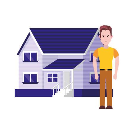 man standing near house white background illustration