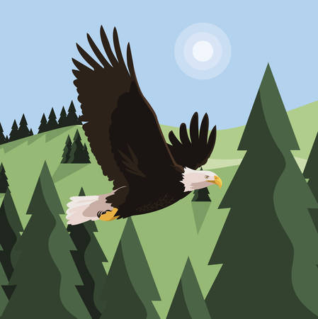 beautiful bald eagle flying in the landscape illustration design