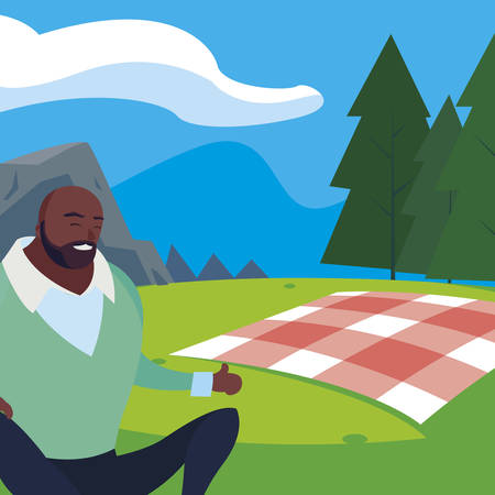 black strong and bearded man in the field picnic day illustration design Illustration
