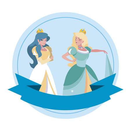 beautiful princesses of tales characters illustration design