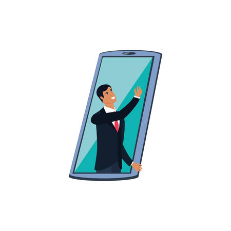elegant businessman in smartphone device illustration design