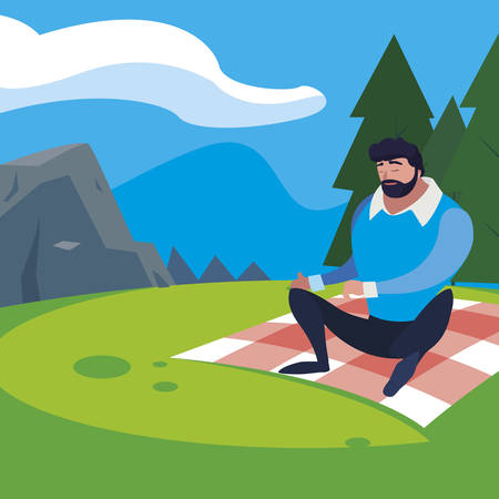 man seated in the field picnic day illustration design