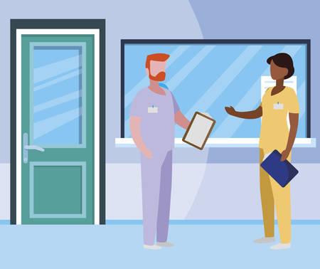 interracial couple medicine workers in reception hospital illustration design