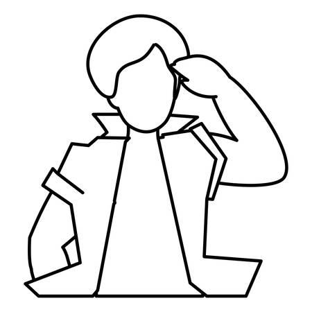 black tropical musician character vector illustration design  イラスト・ベクター素材