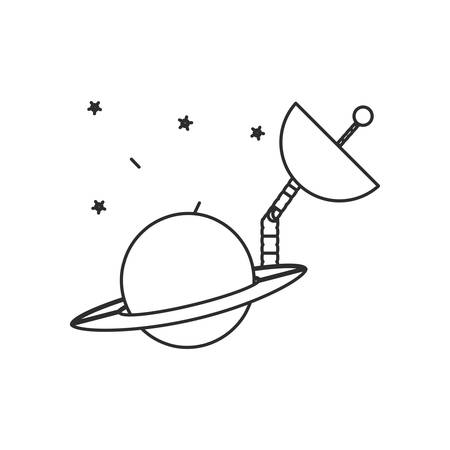 space antenna in planet saturn isolated icon illustration design