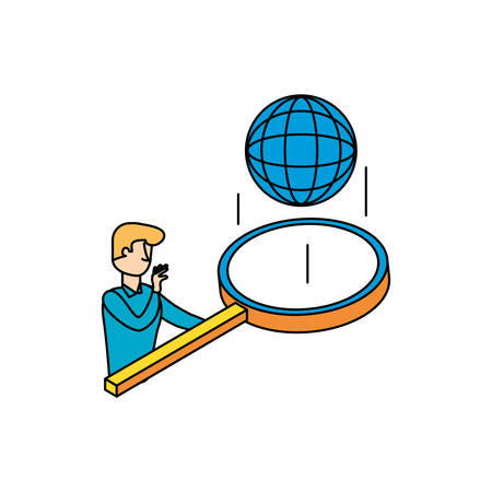 businessman with magnifying glass and sphere browser illustration design