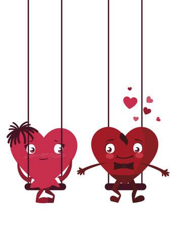couple hearts in swing characters illustration design Foto de archivo - 132206373