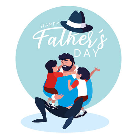 happy father day card with dad and children illustration design Çizim