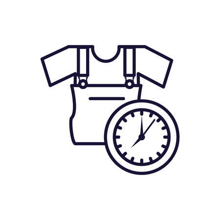 overall uniform construction with clock time vector illustration design 向量圖像