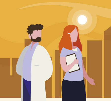 couple of professional workers in cityscape at sunset illustration design
