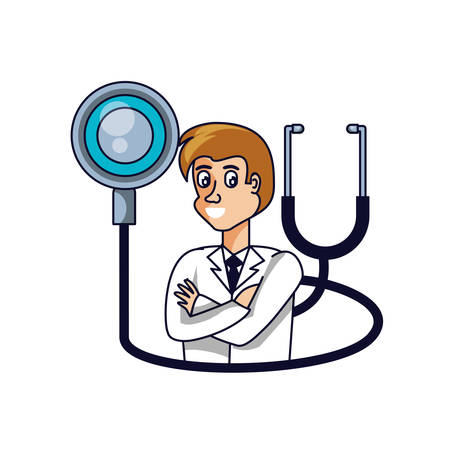 doctor female professional with stethoscope medical vector illustration design