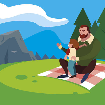 father with son in the field picnic day vector illustration design