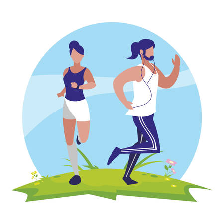 athletics couple running in the camp vector illustration design